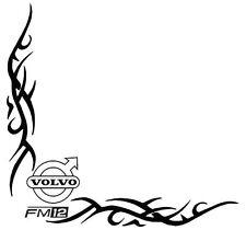 VOLVO fm12 angolo AUTOCARRO Arenato Tribale Finestra Adesivi Decalcomanie x 2