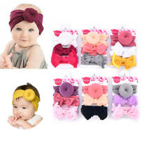 3Pcs Baby Girls Toddler Bow Knot Hair Band Headband Stretch Turban Headwrap Set