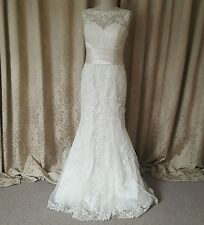 Wedding Dress Lace Fishtail Mermaid Ivory Justin Alexander 8596 US 10