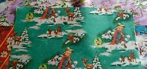 Vintage XMAS WRAPPING PAPER x 5 - incl. divine DEER & WOODLAND ANIMAL Scenes