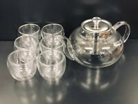 Glass Tea Pot Set with 6 Double-Wall Cups