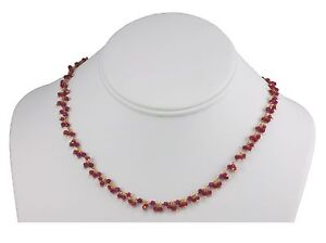 Red Ruby Necklace Round Faceted beaded 14k gold filled 18 19 inch chain Cluster