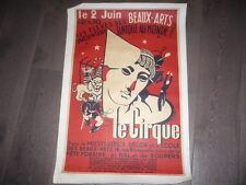 AFFICHE PAR EMILE DESCHLER LITHOGRAPHIE LE CIRQUE A L'ECOLE DES BEAUX ARTS 1940