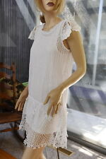 LIM'S 100% COTTON HAND CROCHET DRESS SLIGHTLY A-LINE FLAIR BOTTOMS WHITE M