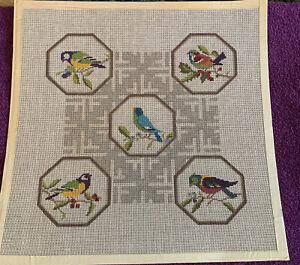"Colorful Birds Handpainted Needlepoint Canvas 15x15"" #18 Mesh"