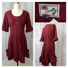 1970s Vintage Dress~Burgundy Cotton Rose Embroidery Lace-Up Boho Scully M/L