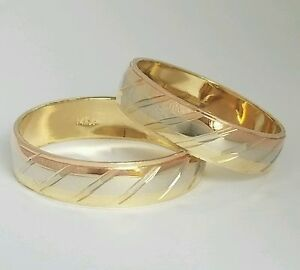 His and Hers solid 14k White Yellow rose Wedding Band Ring 2 piece set S 7, 9.5