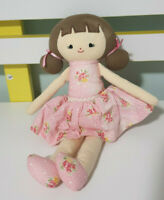 ALIMROSE DOLL CLOTH DOLL WITH PINK DRESS-FLOWERS ON DRESS 22CM BABY TOY