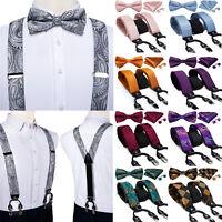Mens Paisley Plaids Suspender Adjustable Braces Silk Bowtie Hanky Cufflinks Set
