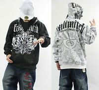 Men's Hip Hop ECKO UNLTD Graffiti Printing Zipper Hoodie Sweater Sweatshirt