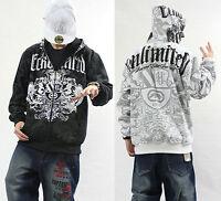 Men's Hip Hop Rapper Cotton Lining Warm Zipper Hoodie Graffiti Pullover Sweater