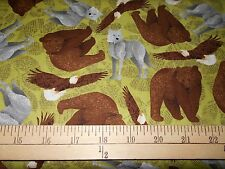 "2 yards Riley Blake ""Trail Mist"" Bears on Green by Bo Bunny  Fabric"