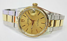 VINTAGE TUDOR MIDSIZE PRINCE OYSTERDATE ROTOR 2TONE,ORIGINAL,BOX AND PAPERS