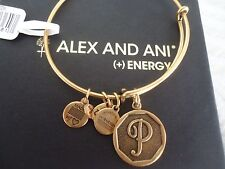 Alex and Ani Initial  P Charm Bangle Bracelet  Russian Gold New W/Tag Card & Box