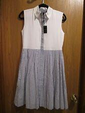 Oscar de la Renta White Blue Seersucker Sleeveless Cotton Dress Size 14Y