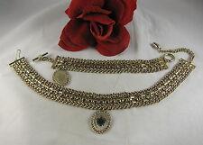 Vintage Heavy Gold tone Necklace & Bracelet Set Cat Rescue