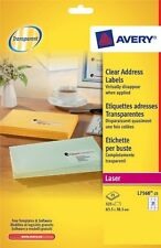 Avery Laser Clear Address 21 Labels Per Sheet 25 In Pack L7560 Opaque