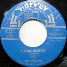 TERRY & THE CROWNS 45 Teenage Romance / Shelly My Love WHITE DOO WOP #H807 HEAR