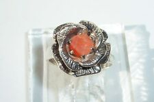 Orange Faceted Mex Fire Opal 6mm BIG Detailed Rose USA Sterling Ring sz 7.25