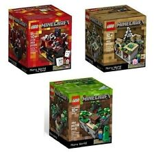 ALL 3 Minecraft LEGO Sets Forest Village Nether 21102 21105 21106 Micro World!
