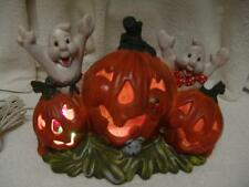 VINTAGE LG HALLOWEEN LIGHTED PUMPKINS W/GHOST/LADY BUG & MOUSE CERAMIC DISPLAY