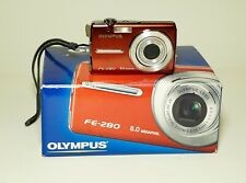 Olympus FE-280 8.0MP Digital Camera - Red w Leather Case