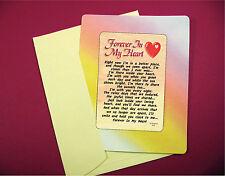 """""""Forever In My Heart"""" Poem -  Keepsake Enclosed Card -Sku# 616"""