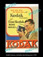 OLD LARGE HISTORIC PHOTO OF KODAK FILM & CAMERA ADVERTISING POSTER c1950 1