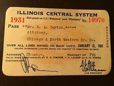 1931 Illinois Central Railroad Company railroad pass
