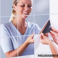 9 PCS Square Mirror Tile Pegatinas de pared 3D Decal Mosaic Home Decoration DIY