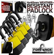 4 x Keyed Alike Heavy Duty WATER PROOF Padlocks 40mm Hardened Steel Rubber Case