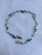 STERLING SILVER 925 & OPAL NAUTICAL SEALIFE DOLPHIN BRACELET MARINE JEWELRY