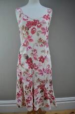 Per Una Marks & Spencer white pink floral sun summer dress 100% linen UK 8/10 R