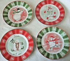 4 Assorted Porcelain Snowman Christmas Dessert Salad Plates by AVON, EXCELLENT