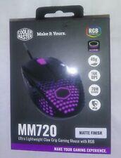 New Cooler Master Mm720 Matte Black Lightup Gaming Mouse Optical Sensor Wired