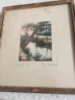 "Vtg 1900's Signed FRED THOMPSON ""Leaning Elm"" Tinted Photograph frame"