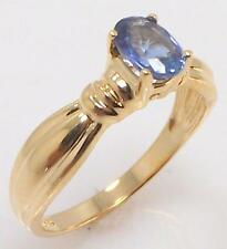 14K YELLOW GOLD GENUINE BLUE SAPPHIRE OVAL SOLITAIRE RING SIZE 7