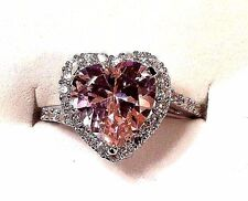 VINTAGE 3CT PINK HEART SAPPHIRE PAVE HALO WHITE SAPHIRE 925 STERLING SILVER 6,5