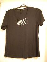 Ladies Bon marche black t-shirt with decorative front size Large