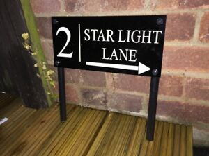 house number Personalised Sign Free Standing Affect Garden Path Lawn Grass Sign