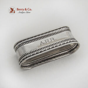 Twisted Rope Beaded Oval Napkin Ring Webster Co Sterling Silver 1940