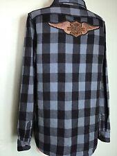harley davidson Womens Large Wingled Logo Patch Plaid Long Sleeve Shirt