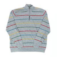 "Alan Flusser Men XL 47"" 1/4 Zip Pullover Sweater Gray Rainbow Stripe Cotton"