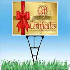 """18""""x24"""" GIFT CERTIFICATES Outdoor Yard Sign & Stake Lawn Holiday Birthday Cards"""