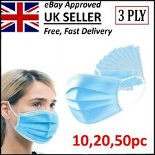 Disposable Surgical Face Mask 3 Ply Mouth Nose Guard Protection Respiration