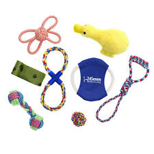 7 Piece Dog Toy Set-Includes Rope Tug Toys-Frisbee-Plush Squeaky Duck-Ball