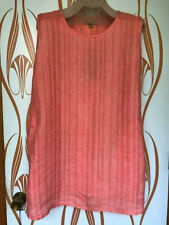FLAX Side Pocket Tunic short Dress L 1G 3G Coral Wave LILY yarn dye linen SALE