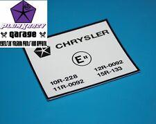 "E""-CODE COWL DECAL - CHRYSLER VALIANT VK CL CHARGER REGAL 265 HEMI 318 340"