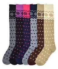 6 Pairs Women Comfort Socks Lot Long Lady Snow Flake Diamond Dots Knee High Pack