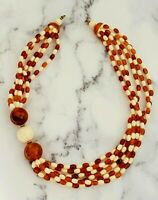 Vintage ROOT BEER and Cream LUCITE Beaded Graduated Multi Strand Necklace